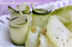 Bocados Caseros: Carpaccio de calabacín, lascas de parmesano y nuec...