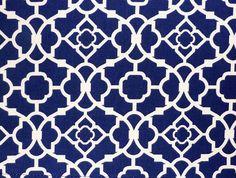Blue Kitchen Curtain with Geometric Lattice Pattern/ Waverly ...