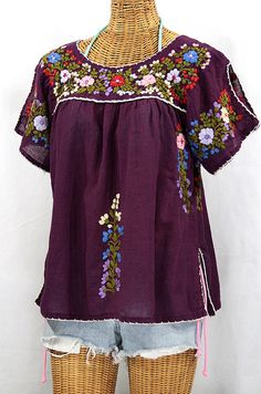 "Mexican Peasant Top Blouse Hand Embroidered: ""Lijera"" Plum"