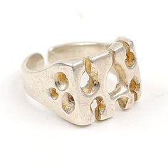 MENNO MEIJER 1930 - Zilveren ring met decoratie ontwerp uitvoering ca.1970
