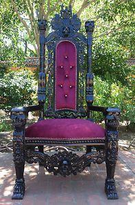 Gothic Skull Chair | ... Black Hollywood Regency Skull Skeleton King Chair Gothic Throne | eBay