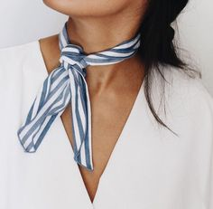 Striped white and blue neck scarf. Would be cute with an off the shoulders white top! @mayaaa23