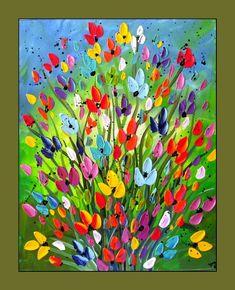 Colorful Flower Painting - Yogi Gray