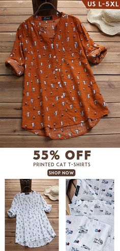 O-NEWE Printed Cat Sleeve Irregular O-neck Casual T-shirts can cover your body well, make you more sexy, Newchic offer cheap plus size fashion tops for women. Rose Clothing, Blouses For Women, Women's Blouses, New Wardrobe, Casual T Shirts, Plus Size Fashion, Vintage Dresses, Personal Style, Summer Outfits