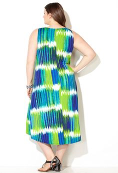 Paintstroke Trapeze Hi Lo Dress-Plus Size Maxi Dress-Avenue