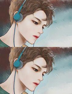 Ong Seong Woo from Wanna One Exo Fanart, Jimin Fanart, Bts Art, Drawn Art, Handsome Anime Guys, Korean Art, Manga Boy, Manga Illustration, K Idols
