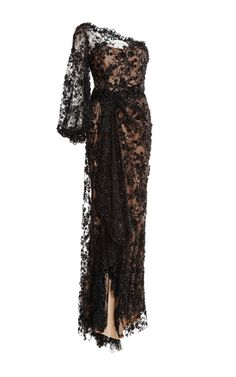 Black Re-Embroidered One Shoulder Gown by Marchesa – Pre-Order now!