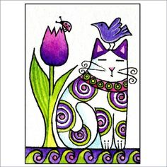 Garden Cat and Bird Art Print in Purples/ Whimsical Decor by Susan Faye Wal Art, Cat Quilt, Purple Art, Cat Colors, Cat Drawing, Cat Design, Whimsical Art, Bird Art, Doodle Art