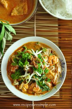 Malaysian Laksa Curried Noodle Soup with Prawns and Fresh Herbs