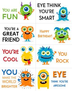 Show you care with these free printable adorable monster lunch box notes perfect for your little ones school lunches! Show you care with these free printable adorable monster lunch box notes perfect for your little ones school lunches! Lunchbox Notes For Kids, Kids Notes, Lunch Notes, School Lunch Box, Packing School Lunches, Kid Lunches, Kid Snacks, Lunch Snacks, Kids Cards