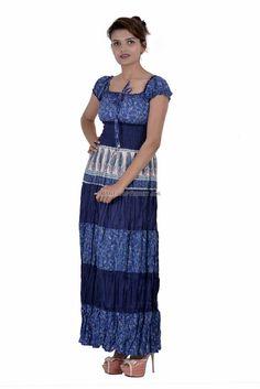 Women Blue Cap Casual Multicolored Printed Long Maxi Sleeves Tunic Cotton IWUS #Handmade #Tunic #Casual