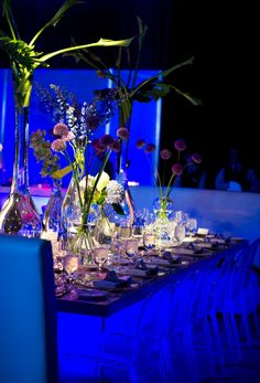 Light up blue, lucite and brushed aluminum bar mitzvah! {Evantine Design, Eventions Productions, Four Seasons Hotel, Photo: Susan Beard Design}
