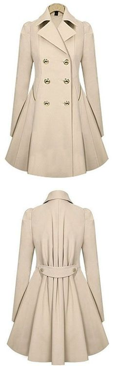 Warm up in style with this trench coat featuring a beautiful notch collar, double breasted, two side pockets, with an a line cut! Model Info: Height: 5ft 3in | Waist: 25in | Hips: 35in | Chest: 35d Wear Size: Medium