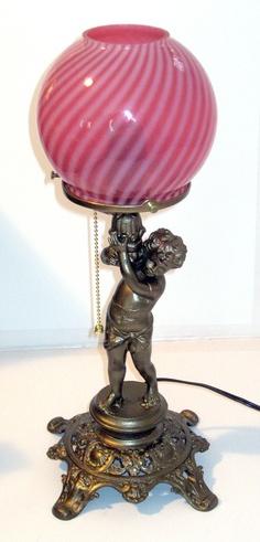 Cranberry Shade on Cherub Lamp