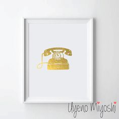 Retro Vintage Telephone Gold Foil Print Gold Print by UyenoMiyoshi