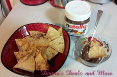 Here is a simple recipe for Cinnamon Sugar Pita Chips with Nutella Dip. Includes step by step instructions and pictures. Even easy for kids! Delicious!!