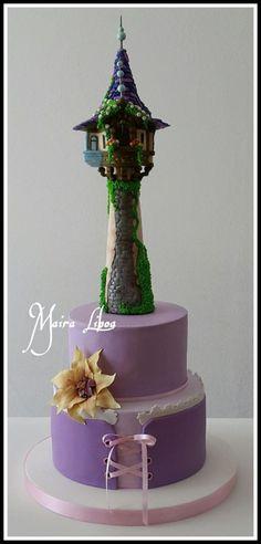 Rapunzel - Cake by Maira Liboa - CakesDecor Rapunzel Birthday Cake, Rapunzel Cake, Tangled Birthday Party, 4th Birthday, Birthday Cakes, Birthday Ideas, Fondant Cakes, Cupcake Cakes, Prince Cake