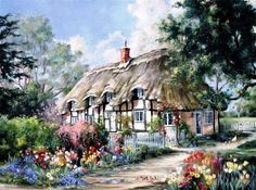 Marty Bell art for sale - Tulip Time - Marty Bell Artist Proof (A/P) Canvas Old Cottage, Cottage In The Woods, Kinkade Paintings, Thomas Kincaid, Bell Art, Images Vintage, Image Nature, Painted Cottage, Artist Painting