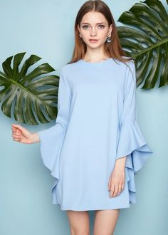 Blue Ruffled Bell Sleeve Babydoll Dress by New Revival - womens gold dress, couture dresses, ladies cocktail dresses *ad Fashion 2017, Hijab Fashion, Womens Fashion, Casual Dresses, Short Dresses, Summer Dresses, Dress Skirt, Dress Up, Babydoll Dress