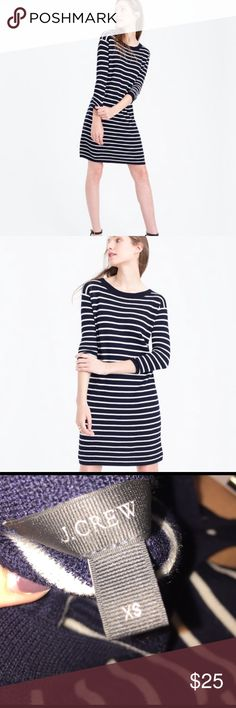 J.Crew Striped Sweater Dress Classic Jcrew Sweater Dress... great for this transitional time and can be brought back out in the fall. Made of 100% merino wool and so comfy. Straight silhouette. I'm usually a small at Jcrew and bought this in an XS. Would look great with brown booties, cute brown open toed booties, heels or flats! Only worn a couple of times. J. Crew Dresses Long Sleeve
