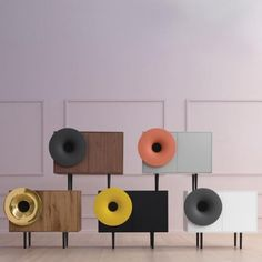 Sweet musical tunes can be heard from the Caruso by Miniforms, designed by Paolo Cappello. Fun and playful, this retro-modern sound system and cabinet is equipped with a bluetooth audio connection system. Italian Furniture, Modern Furniture, Furniture Design, Music Furniture, Audio Design, Speaker Design, Sound Design, Stereo Cabinet, Audio Room