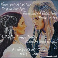 """Sarah Williams and Jareth/The Goblin King from Labyrinth """"As The World Falls… David Bowie Labyrinth, Labyrinth 1986, Labyrinth Movie, Sarah Labyrinth, Labyrinth Tattoo, Sarah And Jareth, Jim Henson Labyrinth, Labrynth, Goblin King"""
