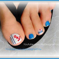 Nautical toenail art. #mydesigns4you  #toenailart #nautical #nauticalnails #pedicure