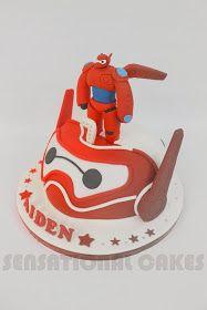 Sensational Cake Singapore , Online Cakes Singapore : 2 FACE BIG HERO CAKE SINGAPORE # RED WHITE FIGURINES CAKE SINGAPORE # 6 HERO CAKE 2 FACE # SUGAR CRAFTED # BAY MAX CAKE SINGAPORE