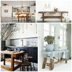 Een oude werkbank in he woonkamer - Vtwonen House Design, Interior Decorating, Interior, Decor Interior Design, Dining Table, Home Decor, Kitchen Dining, Kitchen Style, Kitchen Accessories Decor