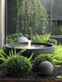 Water bowl bubbler feature with stone ball is part of Garden fountains - Small Courtyard Gardens, Small Courtyards, Small Gardens, Outdoor Gardens, Front Courtyard, Small Patio Ideas On A Budget, Small Back Garden Ideas, Small Garden Design, Water Features In The Garden