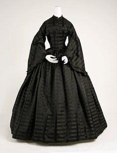 Black, satin-striped silk. American, mourning, 1850s. MET NY. [Or perhaps a really nice black silk dress.]