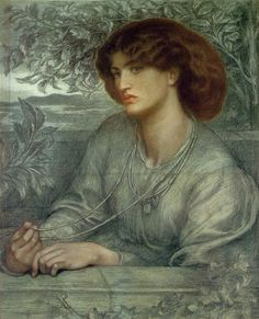 "Dante Gabriel Rossetti (1828-1882) ""Aurea Catena"" , 1868 , colored chalks on grey-blue paper , 76,2x60,9 cm , Fogg Museum of Art, Harvard University , Massachusetts"