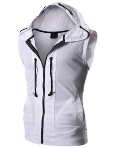 Doublju Mens Sleeveless Hoodie with Z... $24.99 #topseller