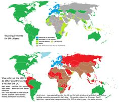 Visa requirements for UK citizens vs visa policy of the UK - Vivid Maps Freedom Of Movement, Citizen, United Kingdom, The Unit, Maps, Charts, Graphics, England, Map