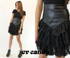 Hey, I found this really awesome Etsy listing at https://www.etsy.com/listing/129216217/80s-vintage-leather-ruffled-lace-high