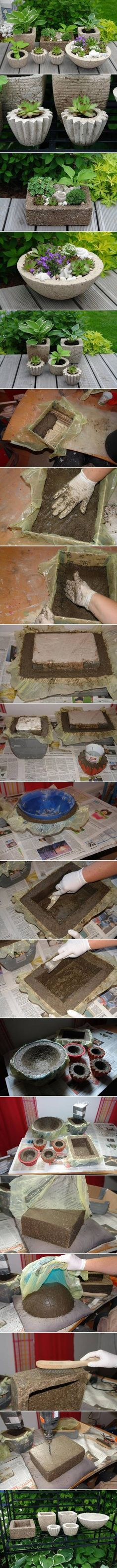 DIY Variety of Cement Planters DIY Projects / UsefulDIY.com