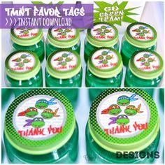INSTANT DOWNLOAD - Teenage Mutant Ninja Turtle Favor Tags, TMNT Stickers via Etsy