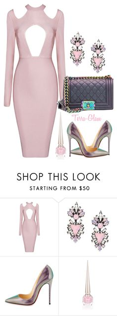"""""""Satin Sweetness"""" by terra-glam ❤ liked on Polyvore featuring Erickson Beamon, Christian Louboutin and Chanel"""