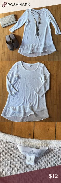 Gorgeous White Lightweight Sweater w/ Sheer Detail Gorgeous White Lightweight Sweater w/ Sheer Detail. Size small and made in USA. Lightweight and comfy sweater material with sheer detail at the bottom. Slightly see through and would wear tank or lace bralette under. Super cute and perfect for any season! Good condition, just worn twice. Tops