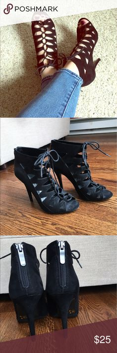 "Chinese Laundry Lace Up Heels NWOT ""suede"" heels. Super sexy shoes. Size says they are size 7.5 but they fit more like an 8/8.5. I tried desperately to fit into them, but they are just a bit too small on me. They are gorgeous! Chinese Laundry Shoes Heels"
