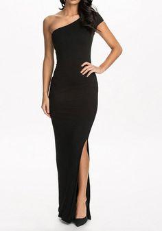 Black Plain Irregular Boat Neck Short Sleeve Maxi Dress