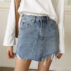 On Second Thought: Asymmetric Denim Mini Skirt