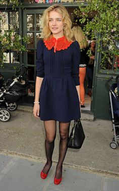 Natalia Vodianova wore a navy dress with a contrast collar at a party for her Naked Heart Foundation charity in London.