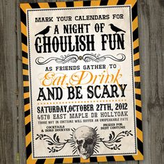 Vintage Retro Halloween Printable Party Invitation