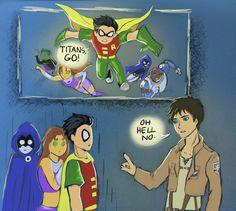 Titans, No. by Hazingga -- Teen Titans meet Attack on Titan