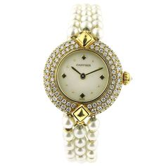 CARTIER Pearl Diamond Gold Bracelet Watch