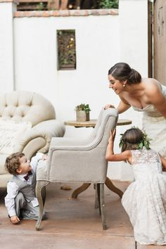 A quick game of hide and go seek! http://www.stylemepretty.com/california-weddings/2016/02/03/rich-romantic-san-juan-capistrano-fall-wedding/ | Photography: Jana Williams Photography - http://jana-williams.com/