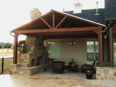 Outdoor Fireplace Under Covered Patio Corner Patio Roof, Back Patio, Backyard Patio, Covered Patio Design, Covered Decks, Outdoor Rooms, Outdoor Living, Gazebos, Outside Living