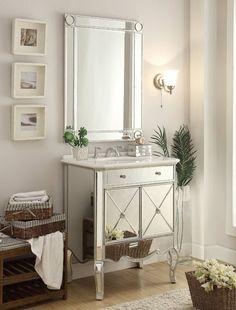"30"" Mirror reflection Adelisa Bathroom Sink Vanity & Mirror Set YR-506RA/MR-1002SC"