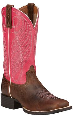 Ariat Round Up Women's Wicker Brown with Hot Pink Top Double Welt Square Toe Western Boots | Cavender's